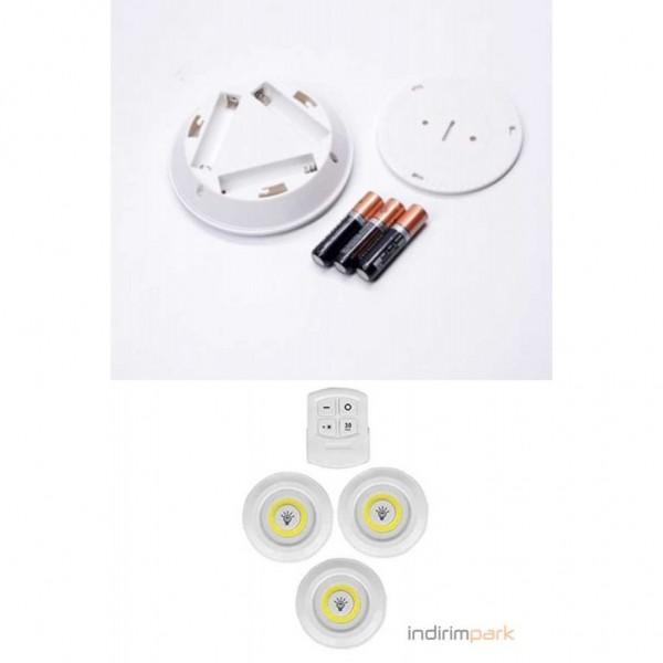 Uzaktan Kumandalı Yapışkanlı 3'lü Power LED Spot Lamba