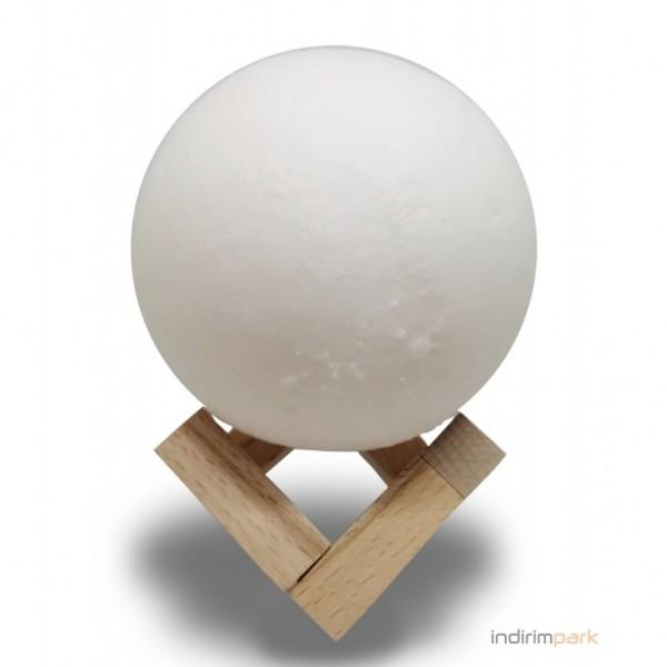 3D Ay Gece Lambası Dokunmatik Renk Değişen Şarjlı Dekoratif Büyük Boy Ahşap Standlı